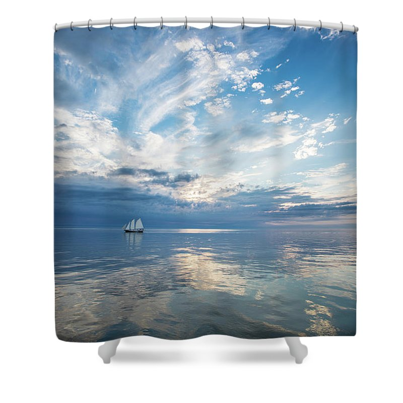 Tranquility Shower Curtain featuring the photograph Tall Ship On The Big Lake by Rudy Malmquist