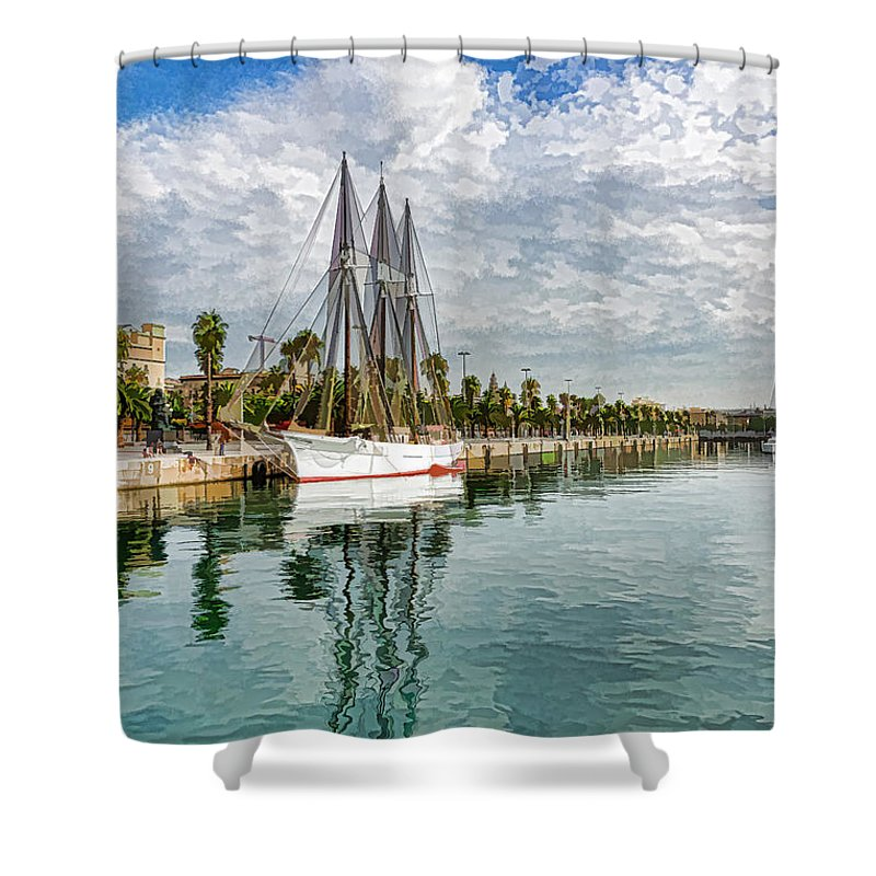 Georgia Mizuleva Shower Curtain featuring the digital art Tall Ships And Palm Trees - Impressions Of Barcelona by Georgia Mizuleva
