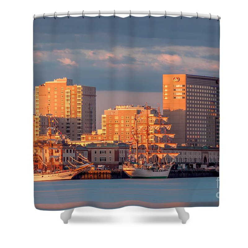 America Shower Curtain featuring the photograph Tall Ships At The Seaport by Susan Cole Kelly