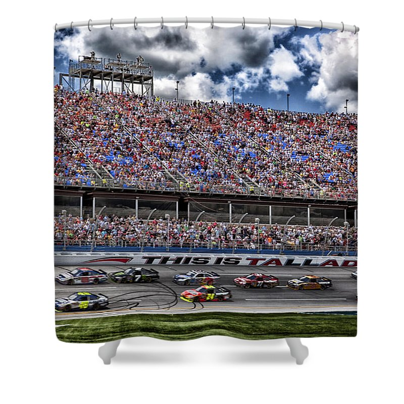Talladega Superspeedway Shower Curtain featuring the photograph Talladega Superspeedway In Alabama by Mountain Dreams