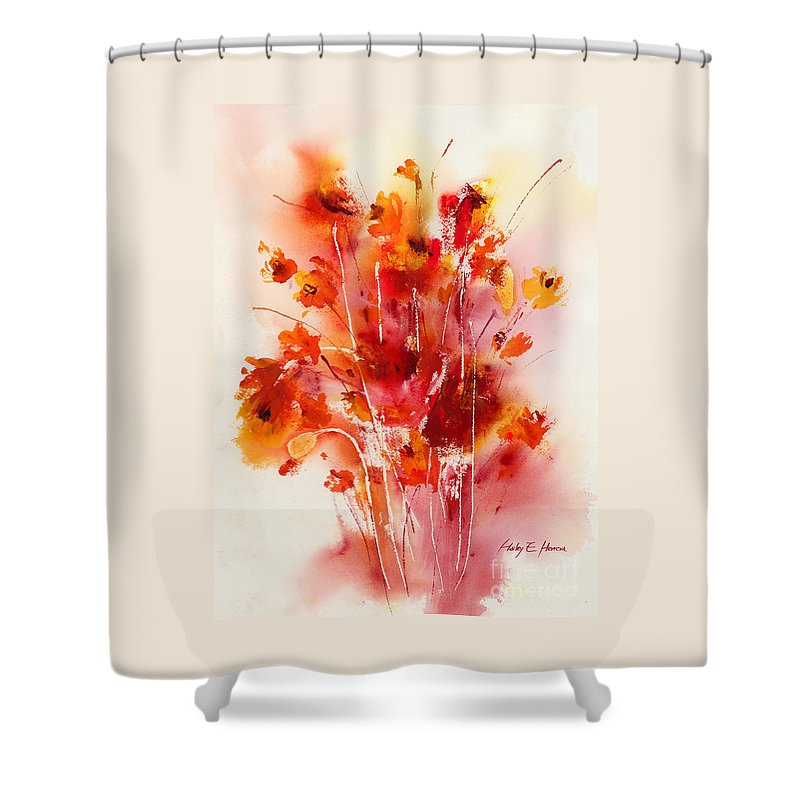 Flowers Shower Curtain featuring the painting Tangerine Tango by Hailey E Herrera