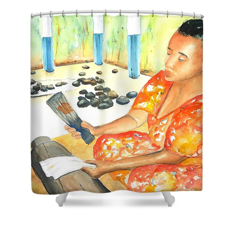 Woman Shower Curtain featuring the painting Tapa Stretch by Carlin Blahnik CarlinArtWatercolor