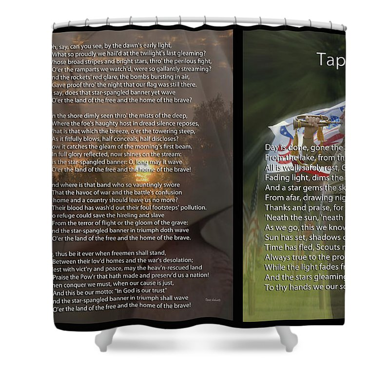 Military Shower Curtain Featuring The Photograph Taps And Star Spangled Banner 2 Panel By Thomas