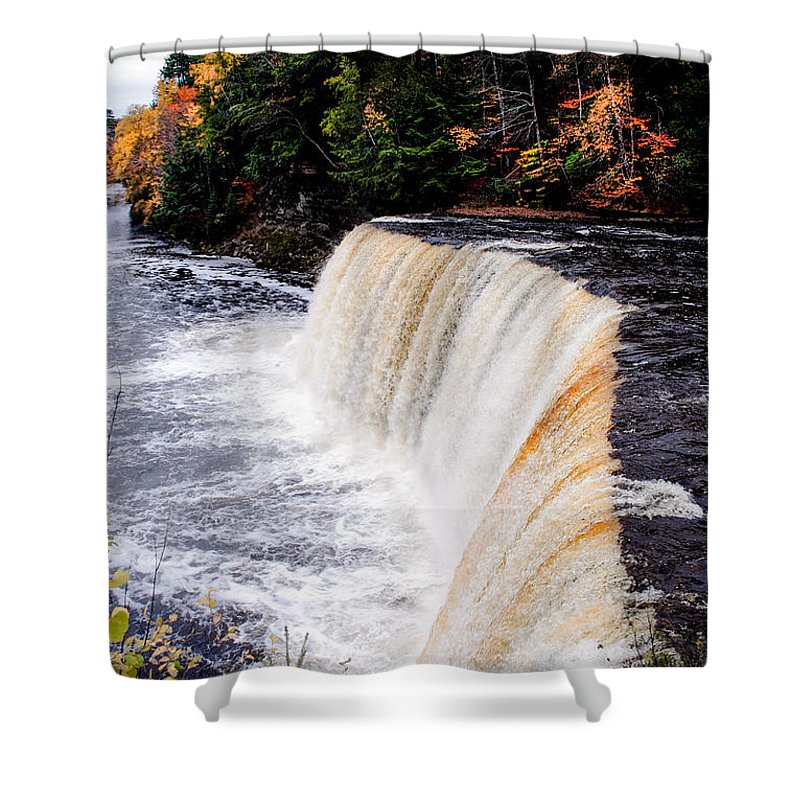 Optical Playground By Mp Ray Shower Curtain featuring the photograph Taquamenon Falls II by Optical Playground By MP Ray