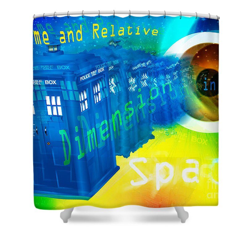 The Doctor Shower Curtain featuring the painting Tardis Time And Relative Dimension In Space by Neil Finnemore