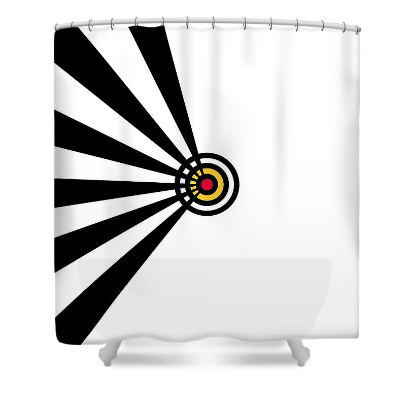 Black White Red Yellow Arrow Lines Target Expressionism Digital Art Abstract Shower Curtain featuring the painting Target by Steve K