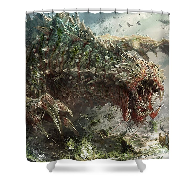 Magic The Gathering Shower Curtain featuring the digital art Tarmogoyf Reprint by Ryan Barger