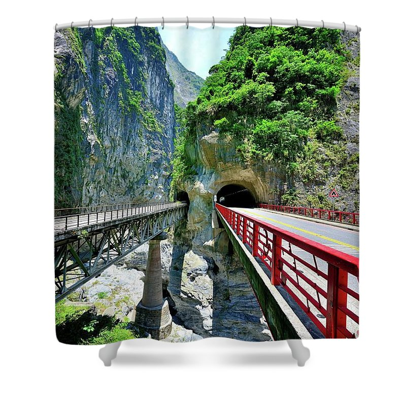 Built Structure Shower Curtain featuring the photograph Taroko Gorge by Photography By Anthony Ko