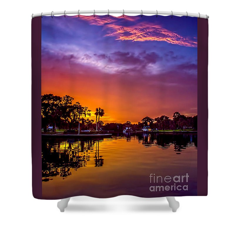 Sunset Shower Curtain featuring the photograph Tarpon Springs Glow by Marvin Spates