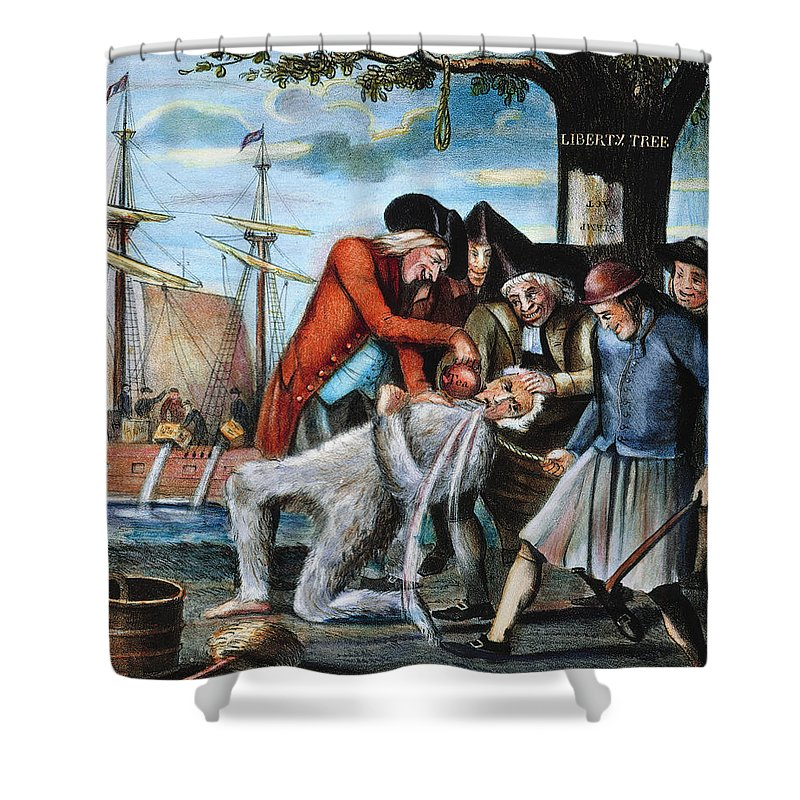 1773 Shower Curtain featuring the photograph Tarring & Feathering, 1773 by Granger