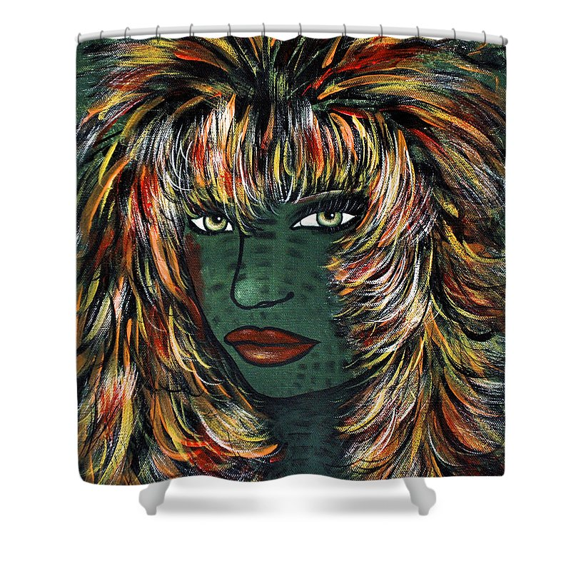 Woman Shower Curtain featuring the painting Tattoo by Natalie Holland