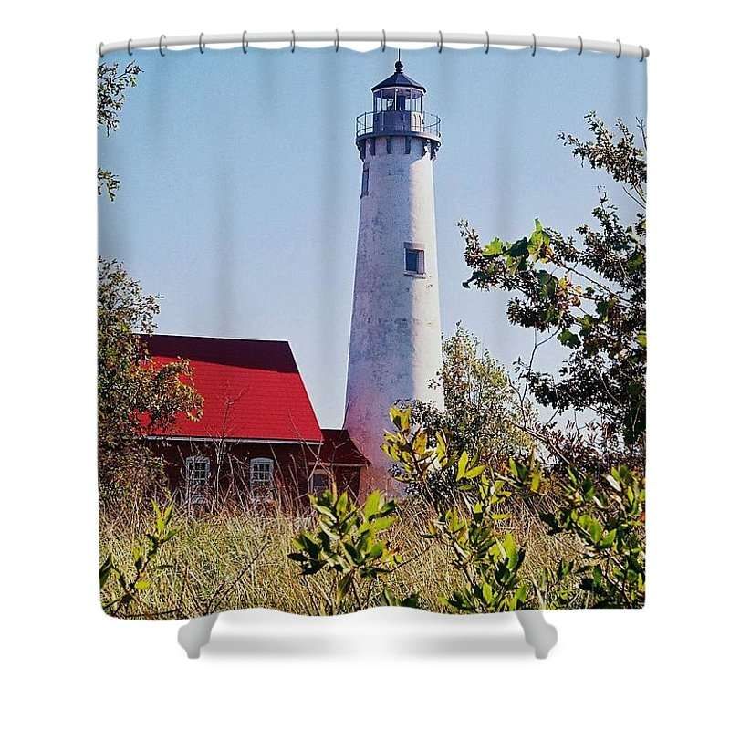 Tawas Point Lighthouse Shower Curtain featuring the photograph Tawas Point Lighthouse...from Tawas Bay Side by Daniel Thompson