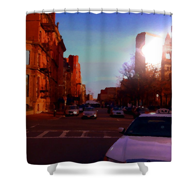 Taxi Shower Curtain featuring the photograph Taxi - Boston by Marcello Cicchini