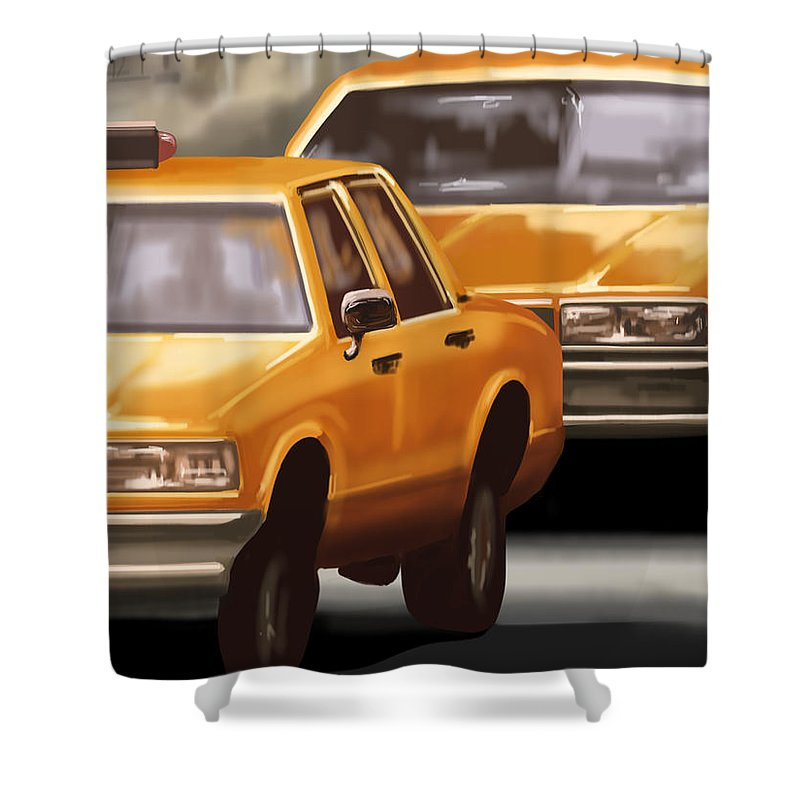 Taxi Shower Curtain featuring the painting Taxi by Veronica Minozzi