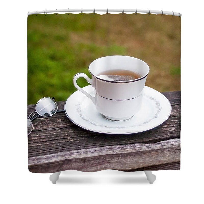 Tea Time Shower Curtain featuring the photograph Tea And Art by Mechala Matthews