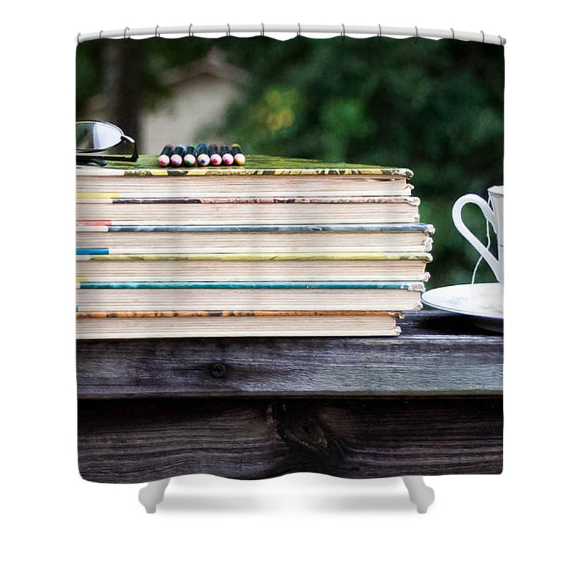 Tea And Reading Shower Curtain featuring the photograph Tea And Reading by Mechala Matthews