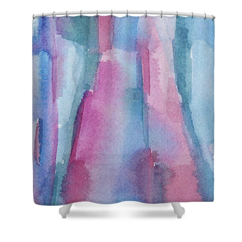 Incroyable Abstract Shower Curtain Featuring The Painting Teal Magenta And Turquoise  Abstract Panoramic Painting By Beverly Brown