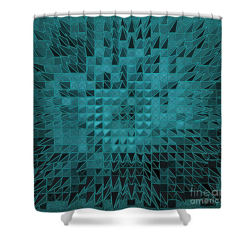 Nude Shower Curtain featuring the painting Teal Quilt by Alys Caviness-Gober