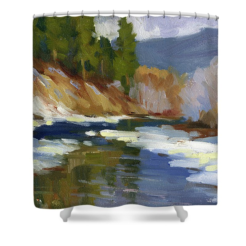 Teanaway River Shower Curtain Featuring The Painting By Diane McClary