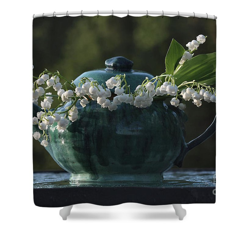 Lily Of The Valley Shower Curtain featuring the photograph Teapot And Lily Of The Valley by Luv Photography