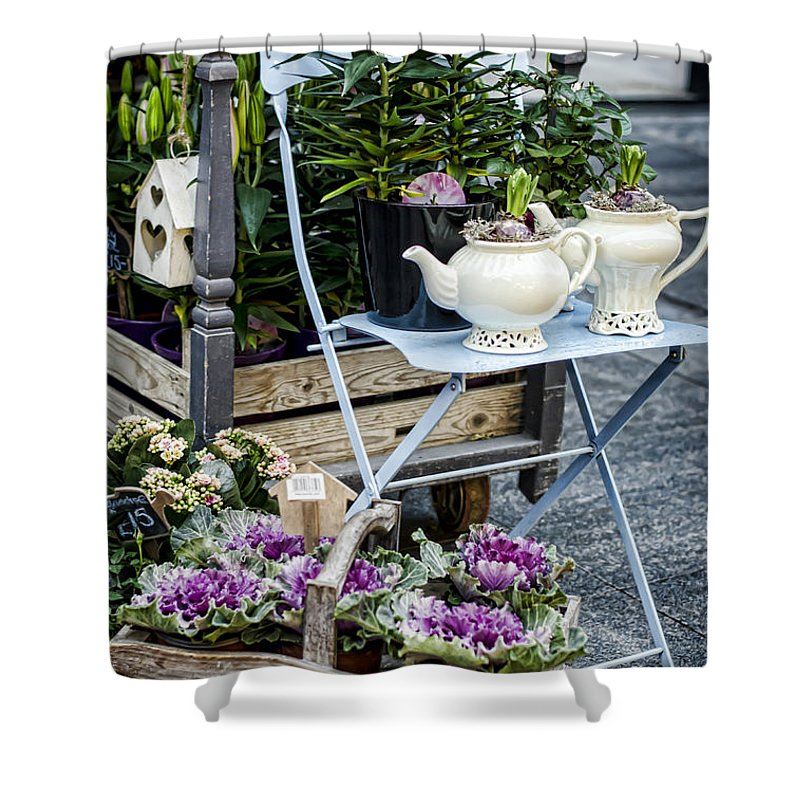Flower Shower Curtain featuring the photograph Teapots And Flowers by Heather Applegate