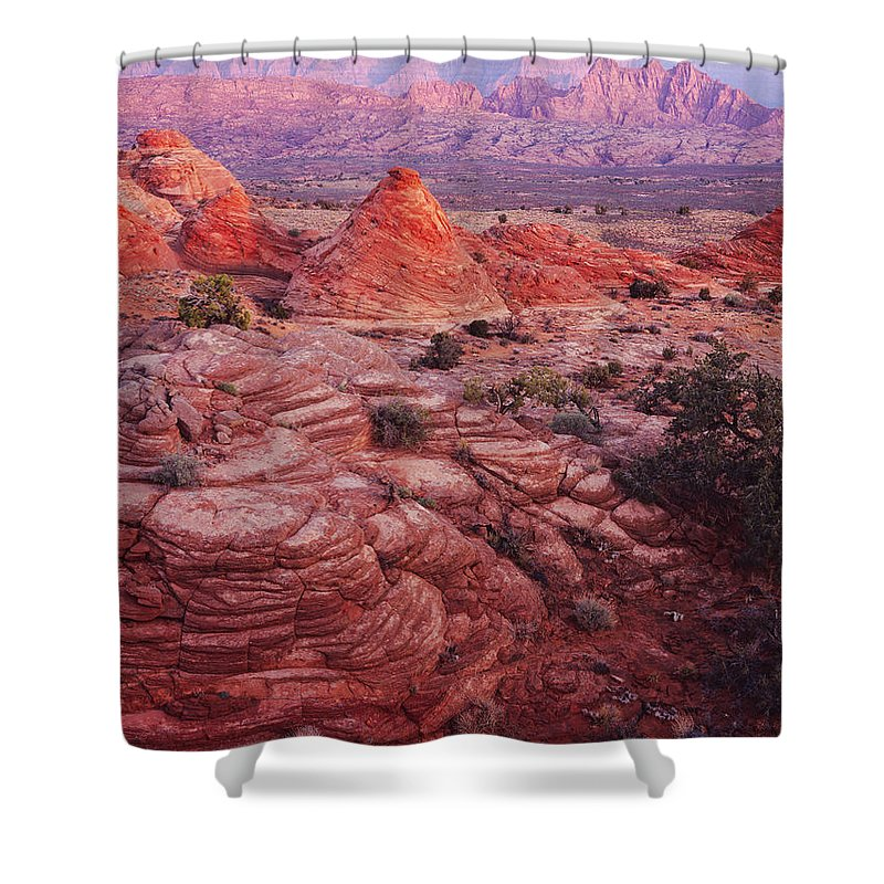 Nature Photography Shower Curtain featuring the photograph Tee Pee Rocks And Echo Peak by Tom Daniel