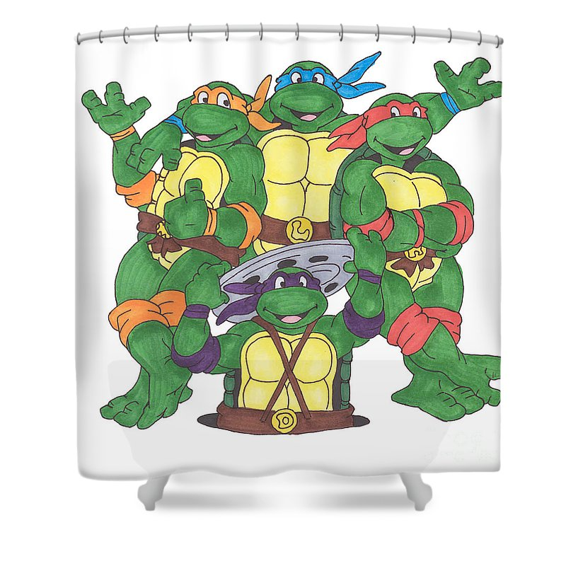 Fanart Shower Curtain featuring the painting Teenage Mutant Ninja Turtles by Yael Rosen