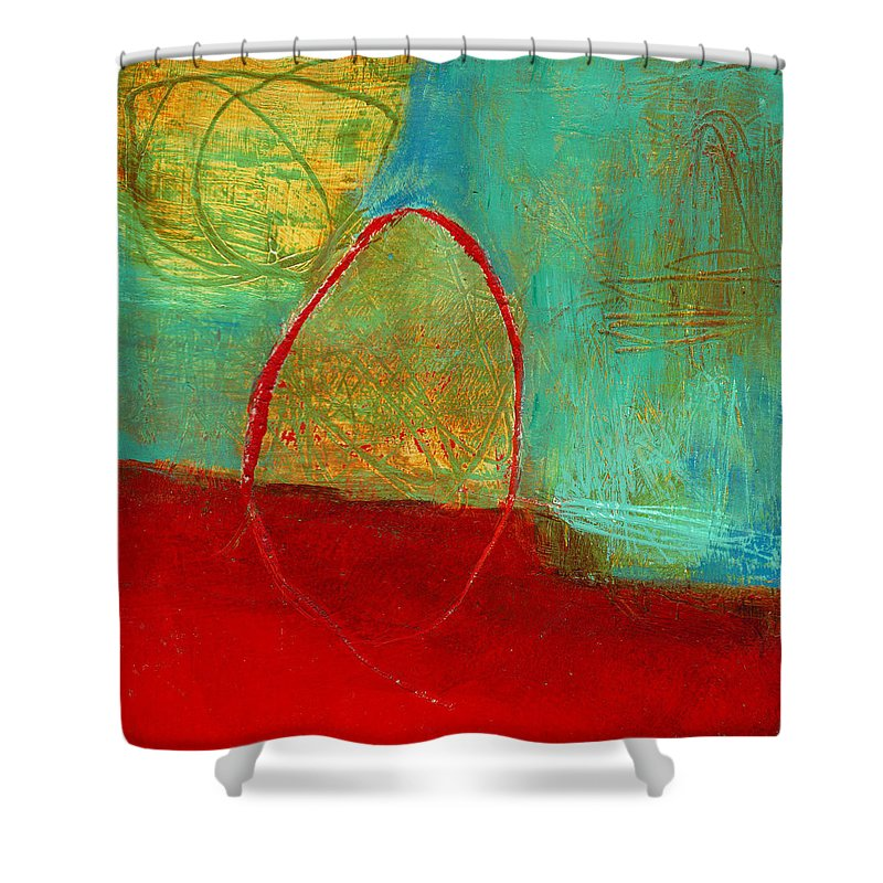 4x4 Shower Curtain featuring the painting Teeny Tiny Art 115 by Jane Davies
