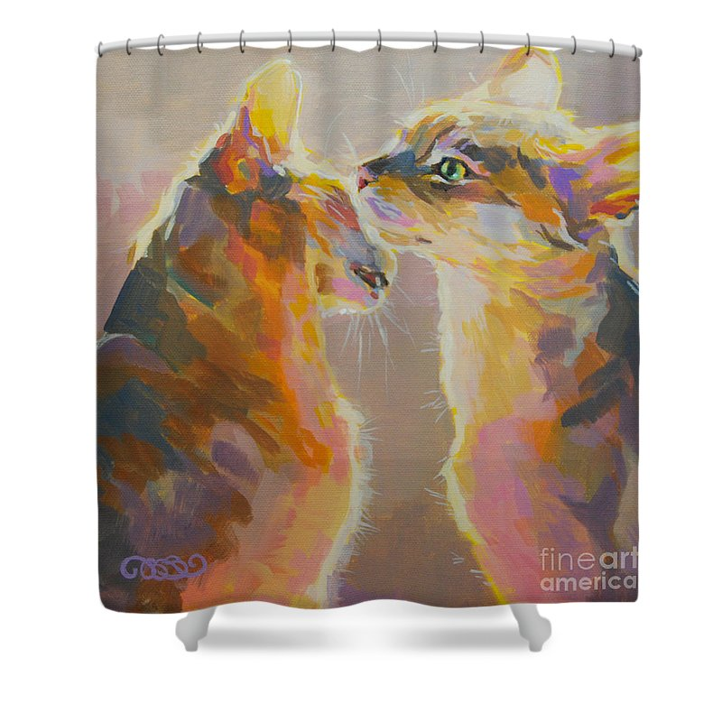 Kitties Shower Curtain featuring the painting Telling Secrets by Kimberly Santini