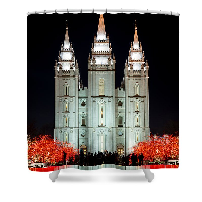 Temple Shower Curtain featuring the photograph Temple Lights by Dustin LeFevre