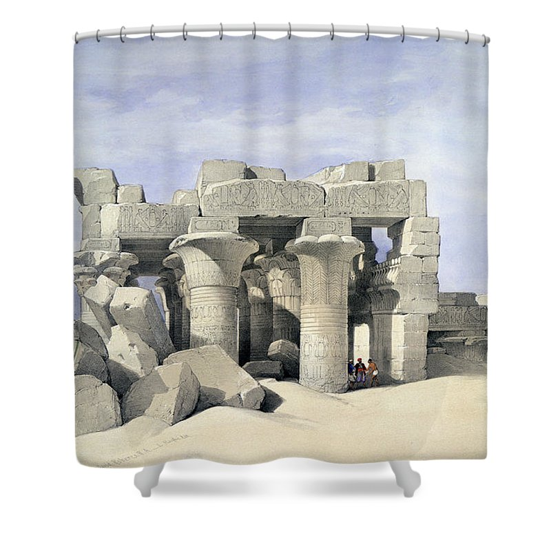 Temple On Nile Shower Curtain featuring the painting Temple On Nile by David Roberts