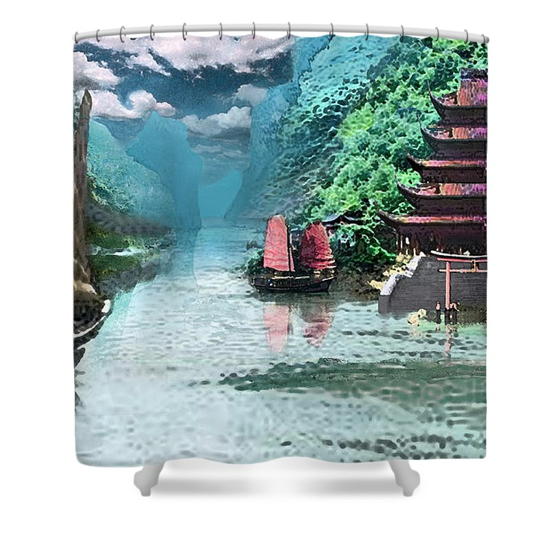 Landscape Shower Curtain featuring the digital art Temple on the Yangzte by Steve Karol