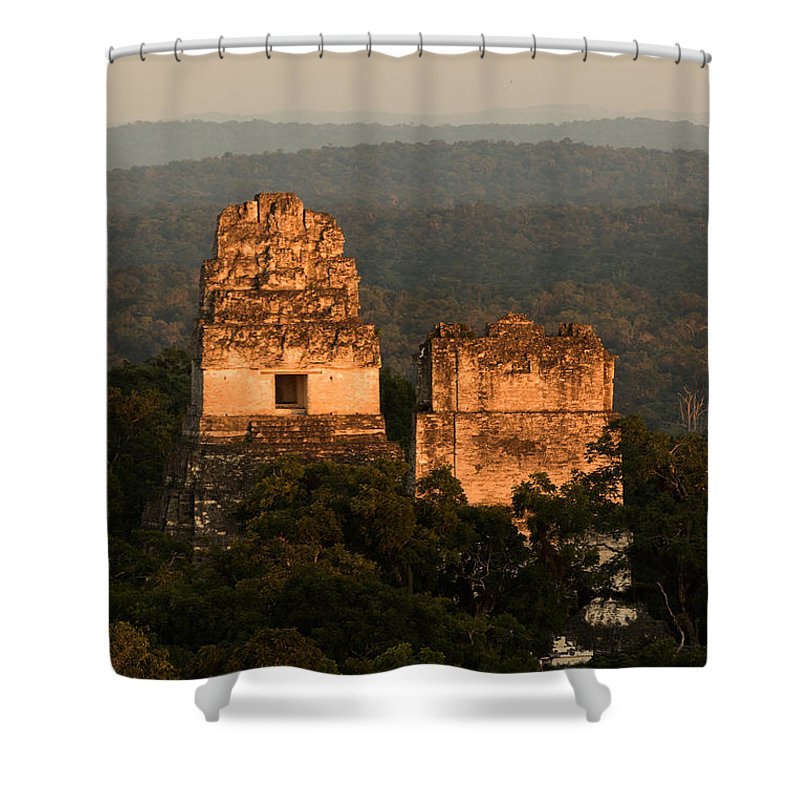 2014-11 Guatemala Shower Curtain featuring the photograph Temples 1 And 2 - #3 by Dan Hartford