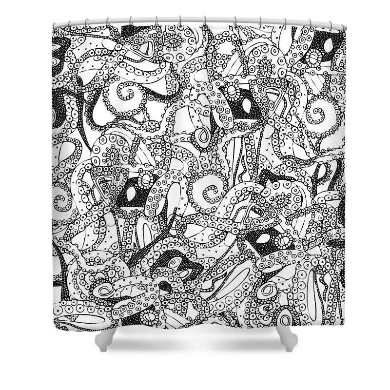 Tentacles Black White Shower Curtain For Sale By Sharon Turner