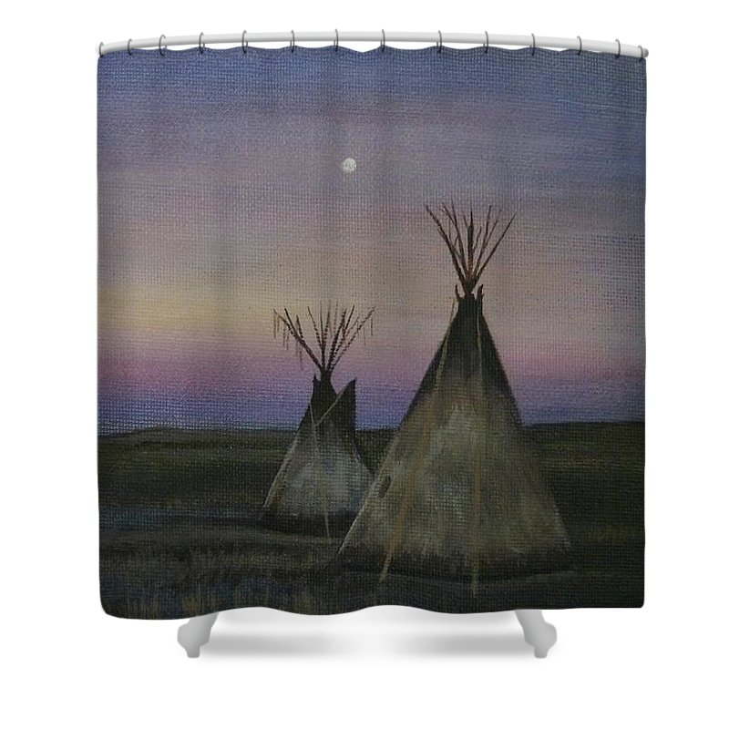 Tepee Shower Curtain featuring the painting Teepees by Lucy Deane