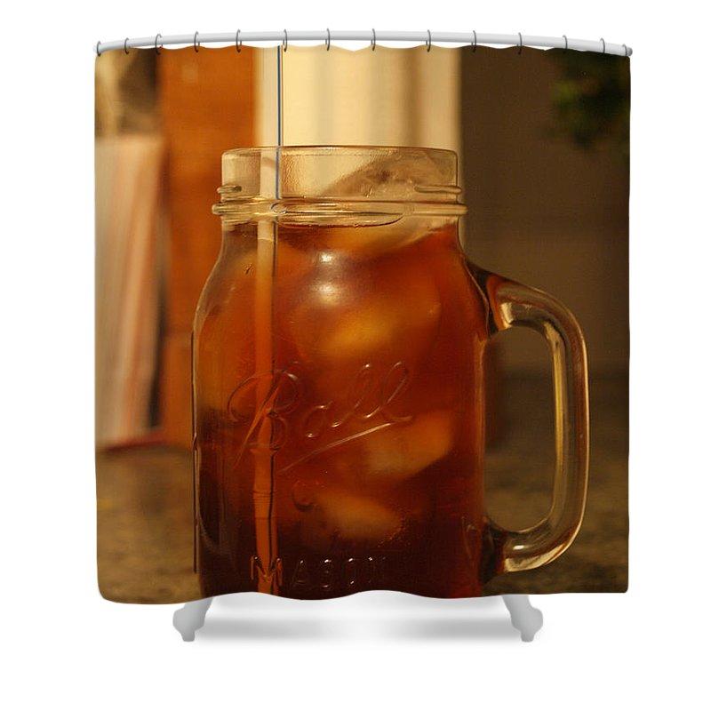 Ball Shower Curtain featuring the photograph Teris Peach Tea Sober by Teri Schuster