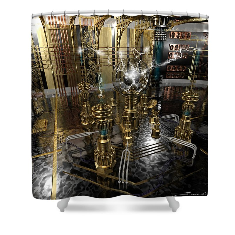 Steampunk Shower Curtain Featuring The Painting Tesla Power Generator By James Christopher Hill