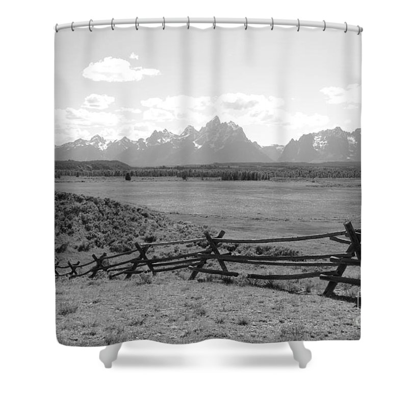 Tetons Shower Curtain featuring the photograph Teton Landscape With Fence - Black And White by Carol Groenen