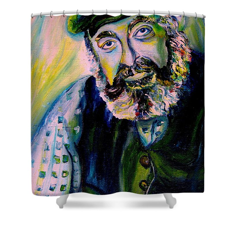 Tevye Fiddler On The Roof Shower Curtain featuring the painting Tevye Fiddler On The Roof by Carole Spandau