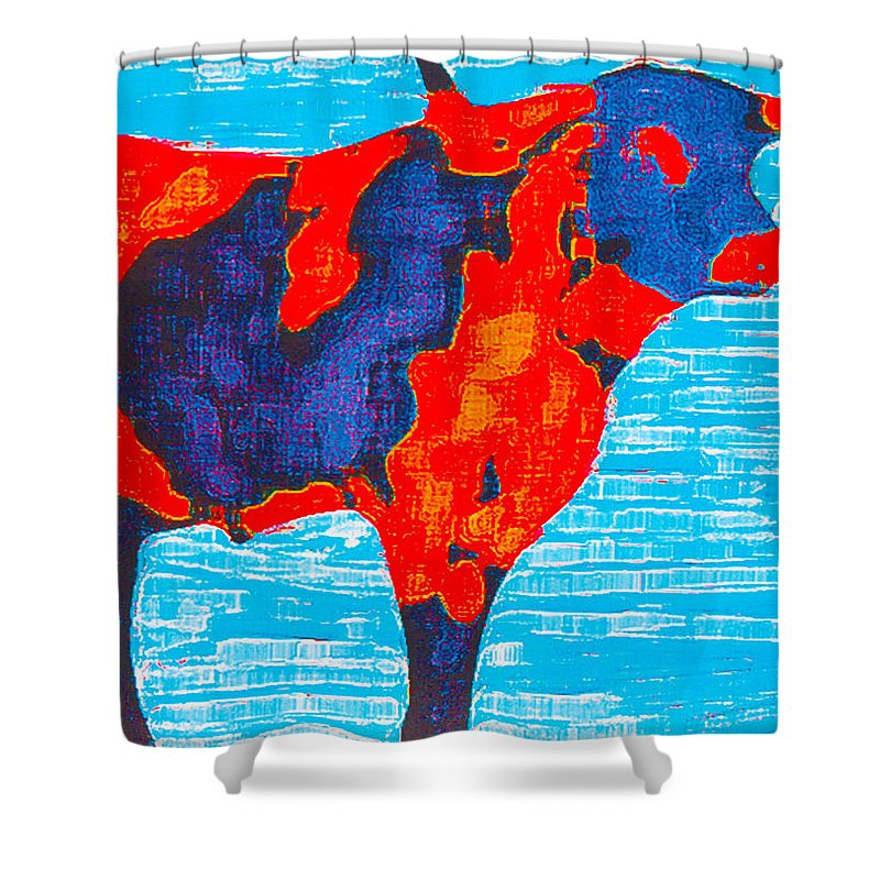Cows Shower Curtain featuring the painting Texan Longhorn by Robert Margetts