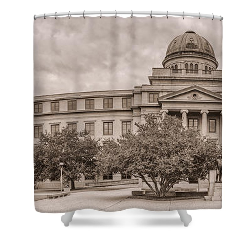 Texas A & M Shower Curtain featuring the photograph Texas A And M Academic Plaza - College Station Texas by Silvio Ligutti
