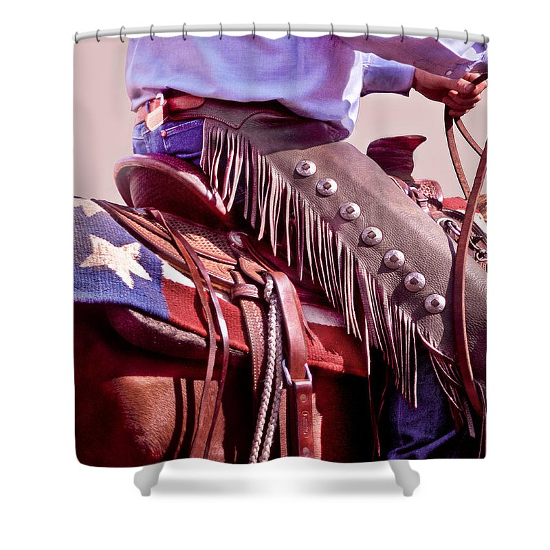 Cowboy Shower Curtain featuring the photograph Texas Cowboy by David and Carol Kelly