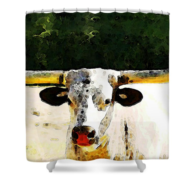 Cow Shower Curtain Featuring The Painting Texas Longhorn