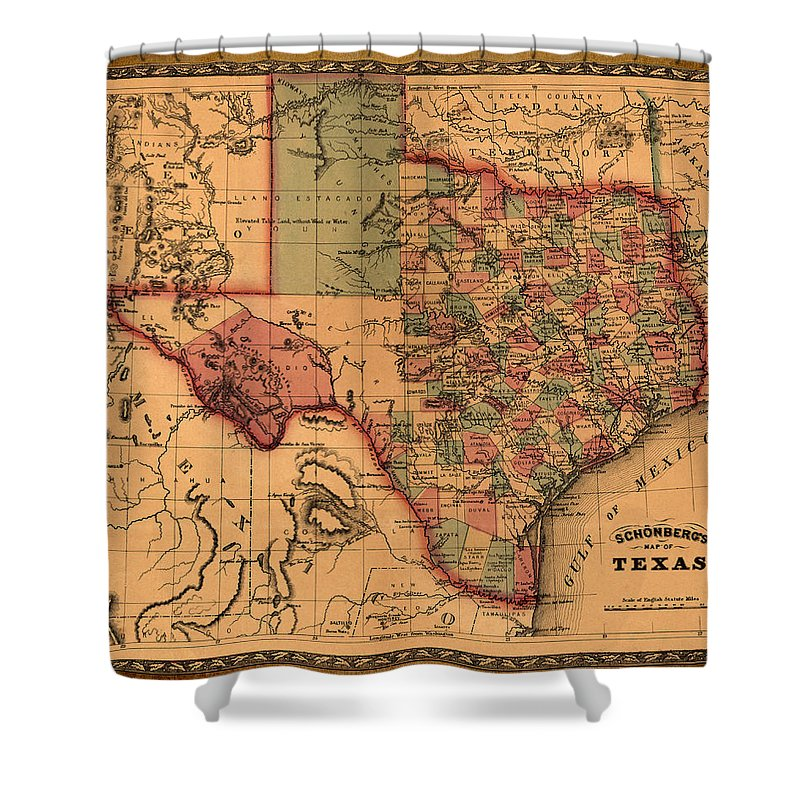 Texas Shower Curtain Featuring The Drawing Map Art