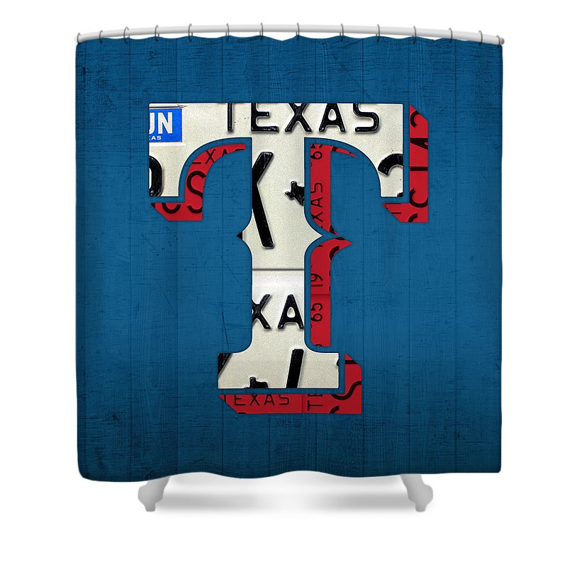 Texas Rangers Shower Curtain Featuring The Mixed Media Baseball Team Vintage Logo Recycled License