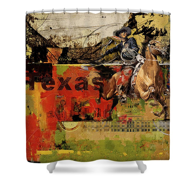 Ordinaire Texas Shower Curtain Featuring The Painting Texas Rodeo By Corporate Art  Task Force