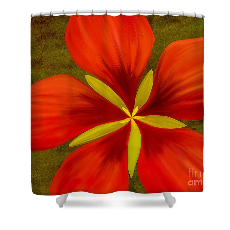 Hibiscus Painting Shower Curtain featuring the painting Texas Star by Patricia Griffin Brett