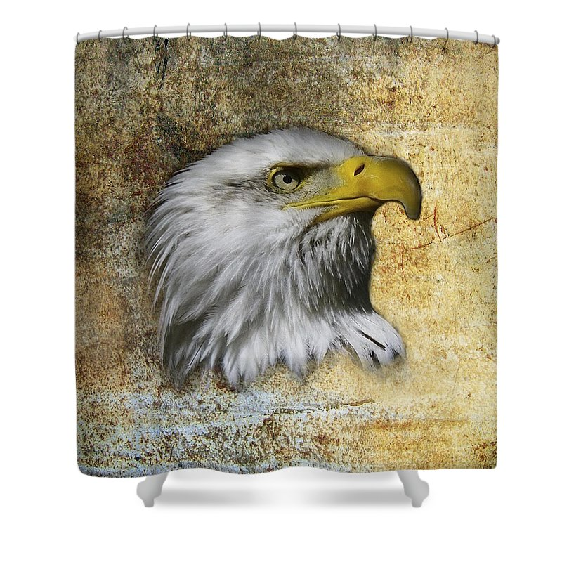 Eagle Head Shower Curtain featuring the photograph Textured Eagle by Steve McKinzie