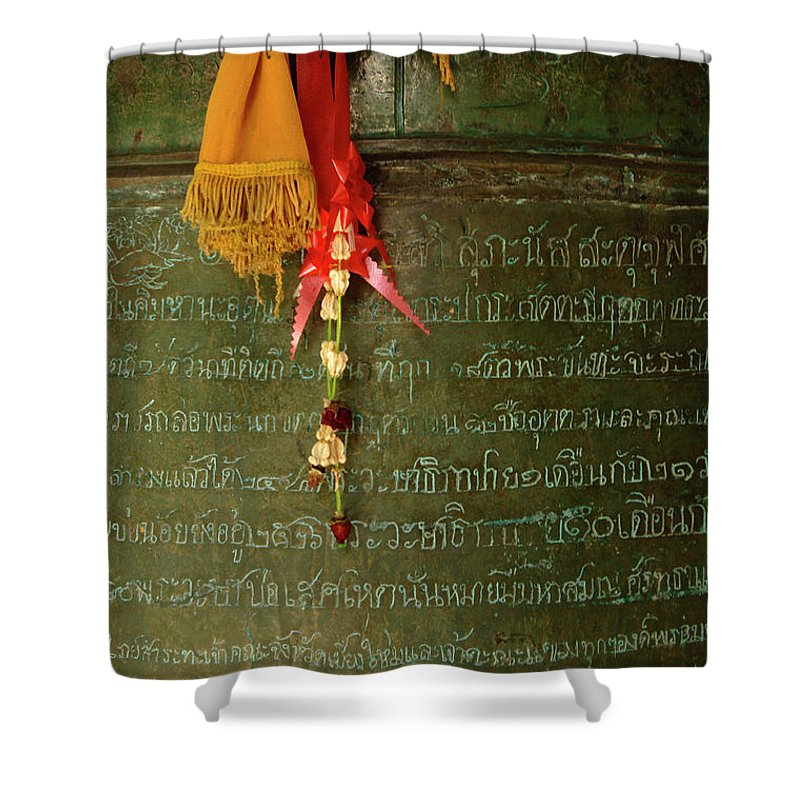 Photo Shower Curtain featuring the photograph Thai Bell by Bob Christopher