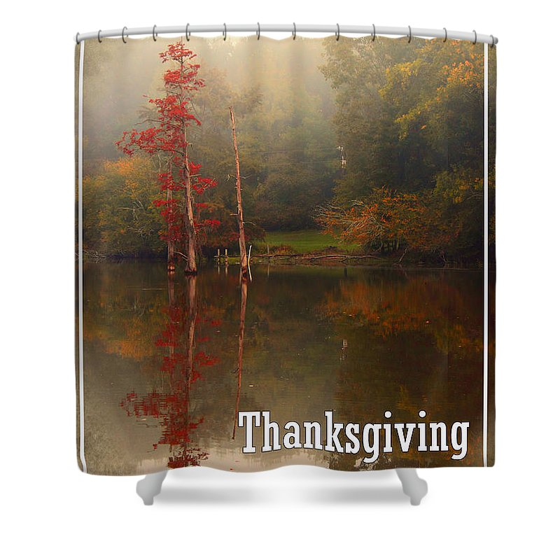 Louisiana Shower Curtain featuring the photograph Thanksgiving Reflections by Karen Beasley